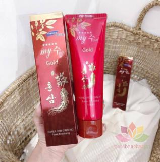 Sữa rửa mặt Gold Korea Red Ginseng Foam Cleansing ảnh 5