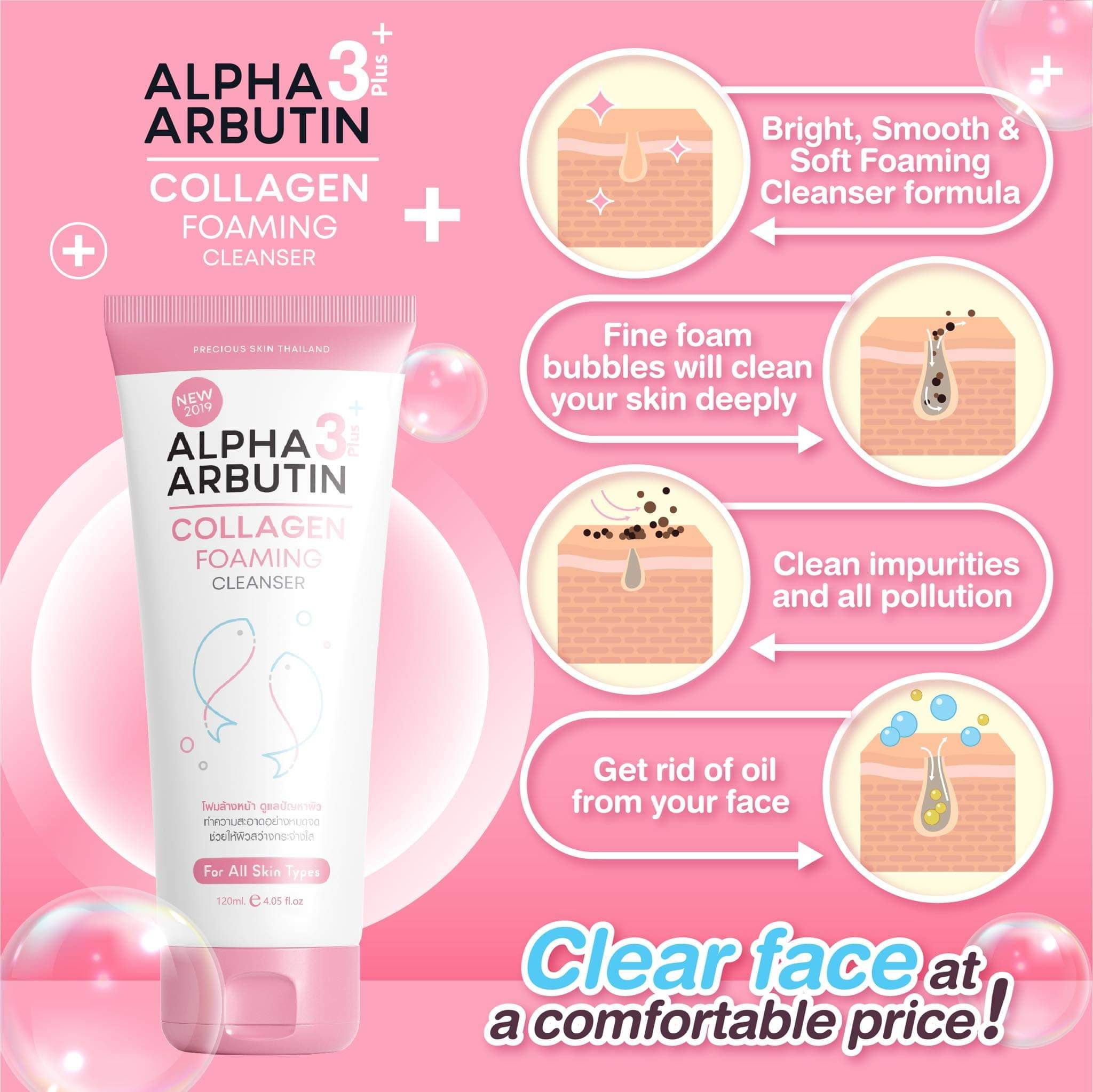Sữa rửa mặt Alpha Arbutin Lollagen Foaming Cleanser