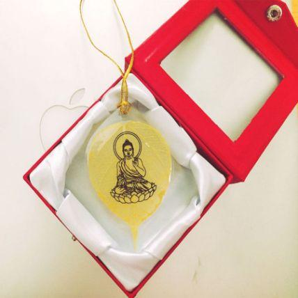 Lá bồ đề dát vàng bình an hình Phật ảnh 7
