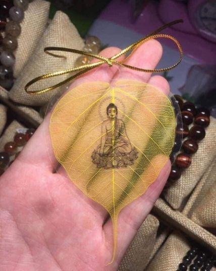 Lá bồ đề dát vàng bình an hình Phật ảnh 8