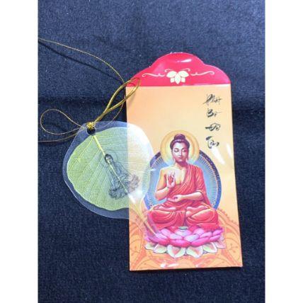 Lá bồ đề dát vàng bình an hình Phật ảnh 4